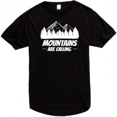 Pánské tričko Mountains Are Calling s prodlouženými zády