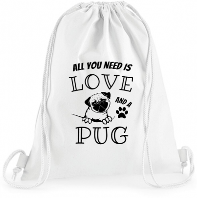 Pytel na záda All You Need Is Love and Pug